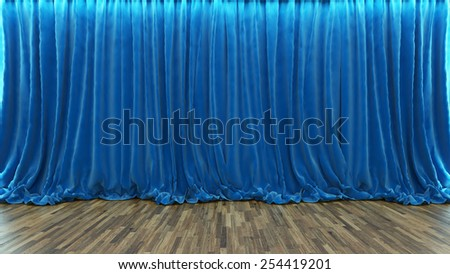 rendering blue curtain in theater and cinema with parquet floor - stock photo