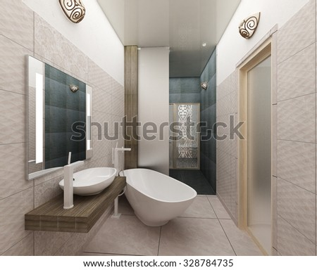 rendering 3D of a modern bathroom interior design