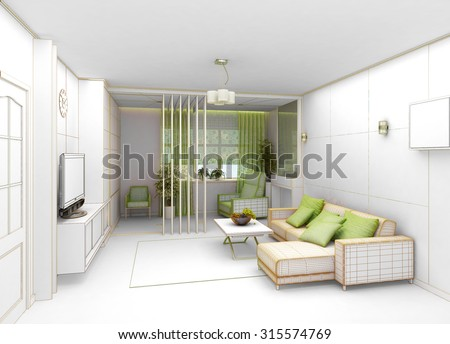 rendering  3D of white living room interior - stock photo