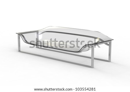 Rendering of a acrylic sofa on a white background - stock photo