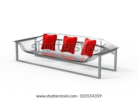 Rendering of a acrylic sofa with three pillows on a white background - stock photo