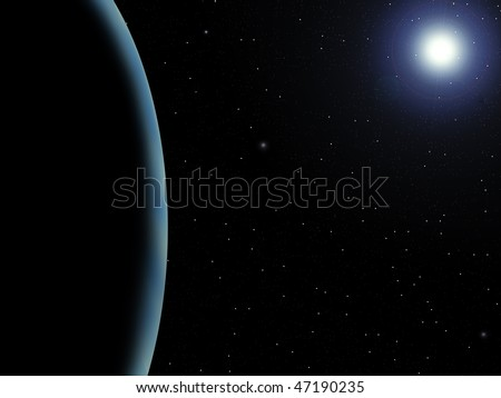 Rendering of a blue planet and a star on a starry background