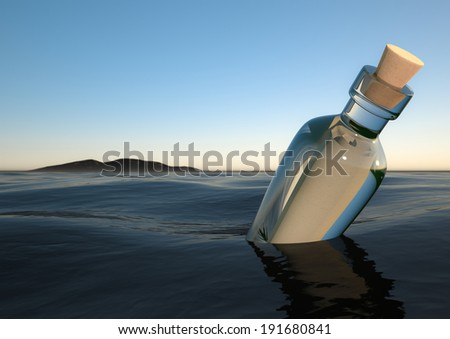 rendering of a Bottle in the ocean - stock photo