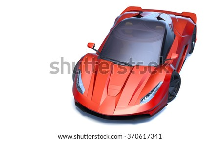Rendering of a brand-less generic concept racing car in studio environment - stock photo