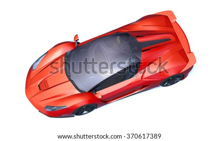 Rendering of a brand-less generic concept racing car in studio environment. - stock photo