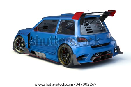 Rendering of a brand-less generic concept racing car in studio environment. No trademark issues as the car is my own design. The car does not exist in real life - stock photo