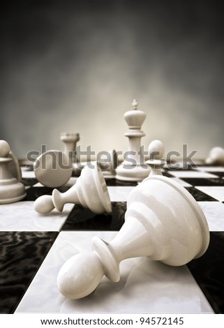 Rendering of a closeup of a chessboard - stock photo