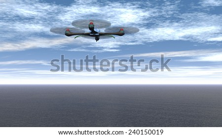 Rendering of a drone in flight - stock photo