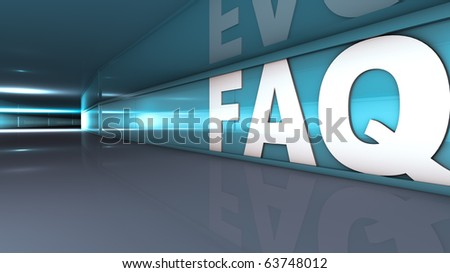 Rendering of a FAQ text in a tunnel - stock photo