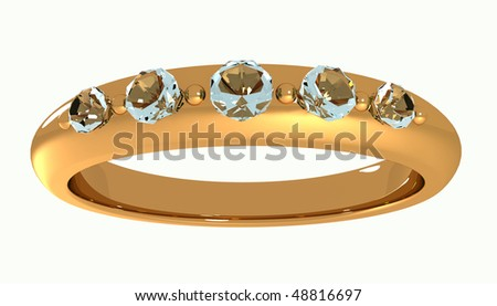 rendering of a gold diamond ring - stock photo