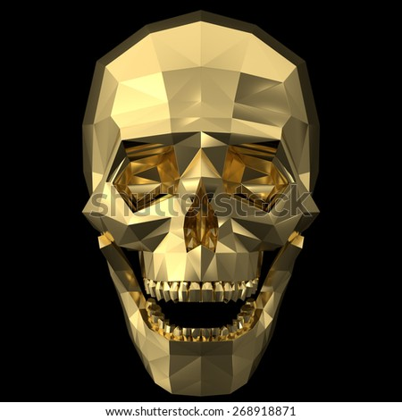 Rendering of a golden human skull with polygonized style on the black background. - stock photo