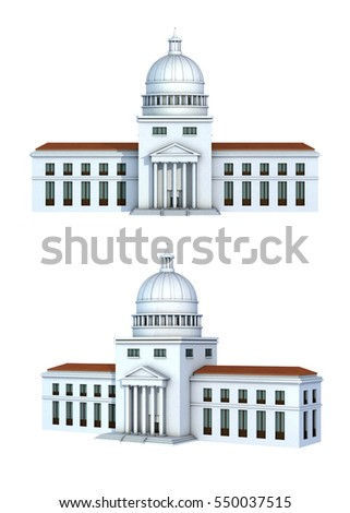 Rendering of a government building. 3D illustration.