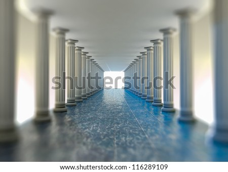 Rendering of a hall with column - stock photo