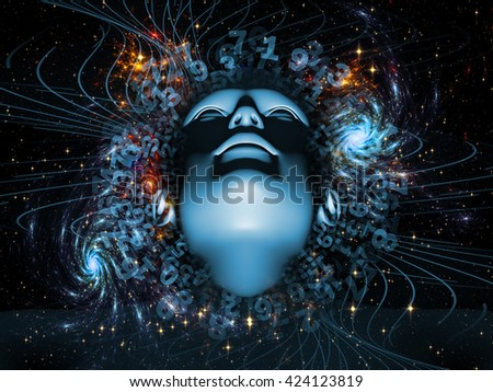 Rendering of a human head and technological elements on subject of science and education - stock photo