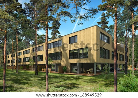 Rendering of a modern row house in pine trees - stock photo