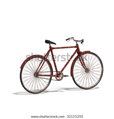 rendering of a old unused bike with Clipping Path and shadow over white