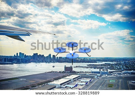 rendering of a quadrocopter drone and aircraft at the Boston skyline