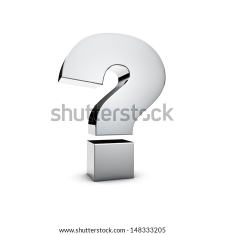 Rendering of a silver Question Mark on white background - stock photo