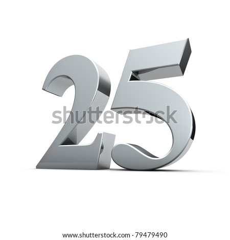 Rendering of a silver twenty-five number - stock photo