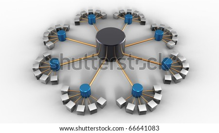 Rendering of a symbolic network isolated on white - stock photo