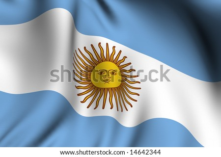 Rendering of a waving flag of Argentina with accurate colors and design. - stock photo