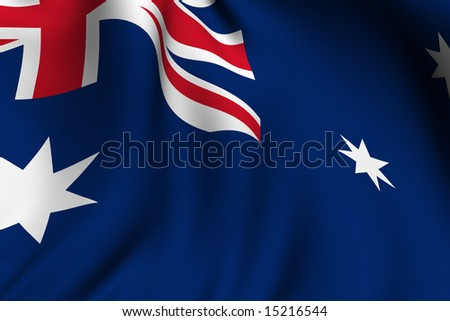 Rendering of a waving flag of Australia with accurate colors and design.