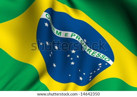 Rendering of a waving flag of Brazil with accurate colors and design. - stock photo