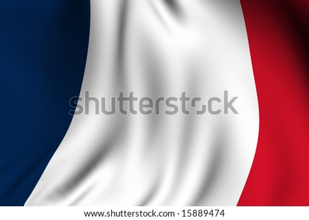 Rendering of a waving flag of France with accurate colors and design and a fabric texture.