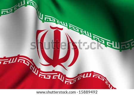 Rendering of a waving flag of Iran with accurate colors and design and a fabric texture.