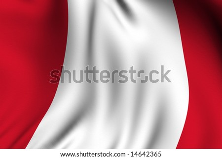 Rendering of a waving flag of Peru with accurate colors and design.