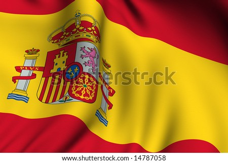 Rendering of a waving flag of Spain with accurate colors and design.