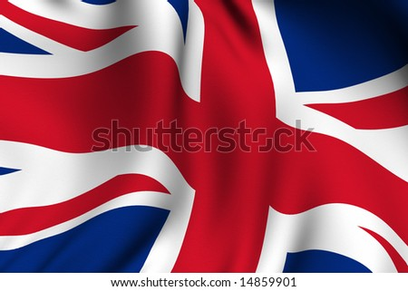 Rendering of a waving flag of the United Kingdom with accurate colors and design.