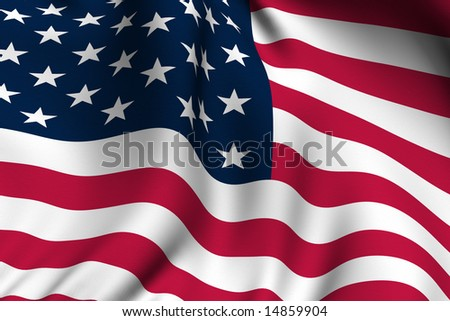 Rendering of a waving flag of the United States of America with accurate colors and design.