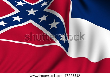 Rendering of a waving flag of the US state of Mississippi with accurate colors and design and a fabric texture. - stock photo