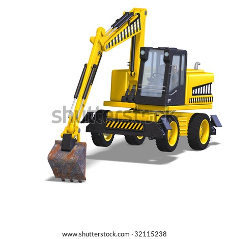 rendering of a wheel excavator with Clipping Path and shadow over white