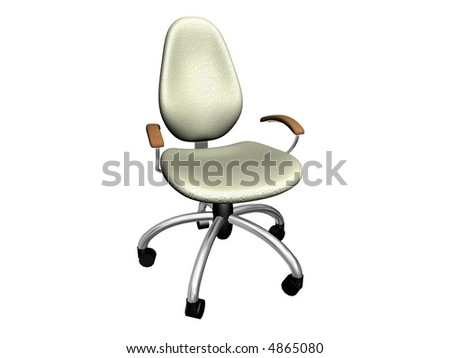 Rendering of a white office chair isolated on white - stock photo