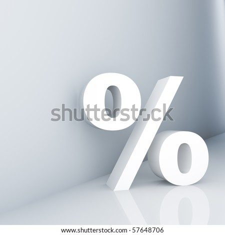 Rendering of a white percent sign on a reflective ground - stock photo