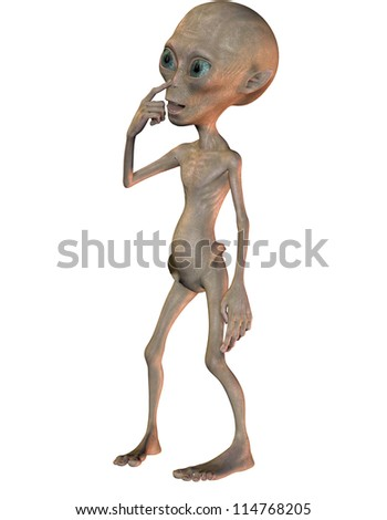rendering of an alien as a comic figure - stock photo