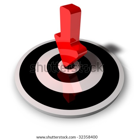 rendering of an isolated center with a red arrow on it - stock photo