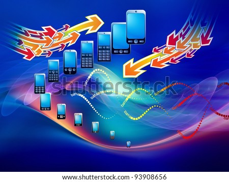 Rendering of cellular phones and abstract design elements on the subject of phone technology, cellular communication and modern electronic gadgets