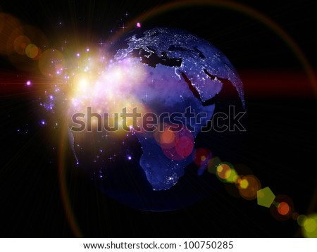 Rendering of city light map of Earth (courtesy of NASA) and abstract lights on the subject of technology in the modern world