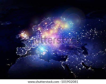 Rendering of city light map of Europe (courtesy of NASA) and abstract lights on the subject of technology in the modern world - stock photo