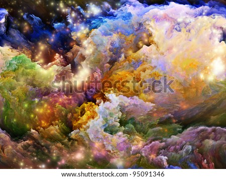 Rendering of colorful fractal foam and lights suitable as backdrop for artistic, spiritual, creative and children projects - stock photo
