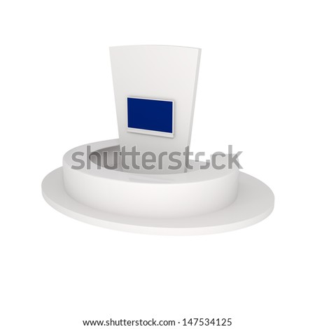 Rendering of Exhibition Stand isolated on white - 3d illustration - stock photo