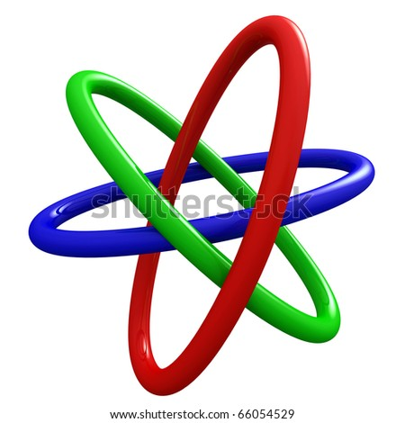 Rendering of fine finish Borromean Rings with reflections on white background.