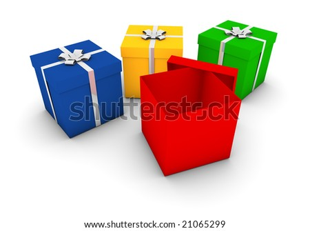 rendering of gift boxes