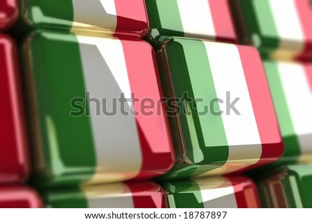 Rendering of italian flags as cubes - stock photo
