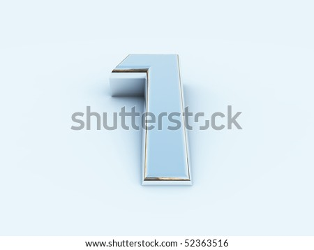 rendering of metallic number one on light background - stock photo