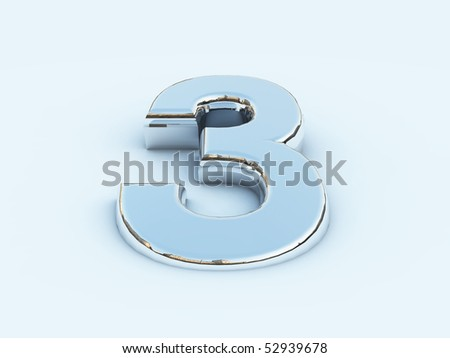 Rendering of metallic number three on light background - stock photo