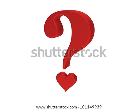 Rendering of red heart  question mark - stock photo